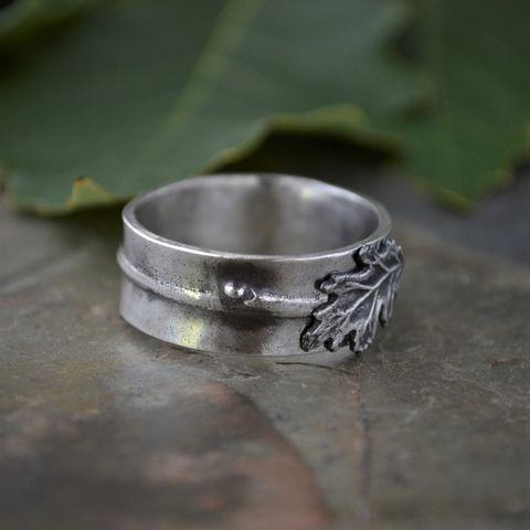 Oak Twig and Leaf Ring in Sterling Silver - product images  of