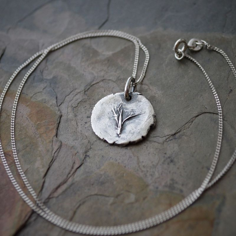 Little Bluestem Seed Necklace in Fine Silver with Sterling Silver Chain - product images  of