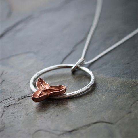Copper Bittersweet Necklace with Sterling Silver Hoop and Chain - product images  of