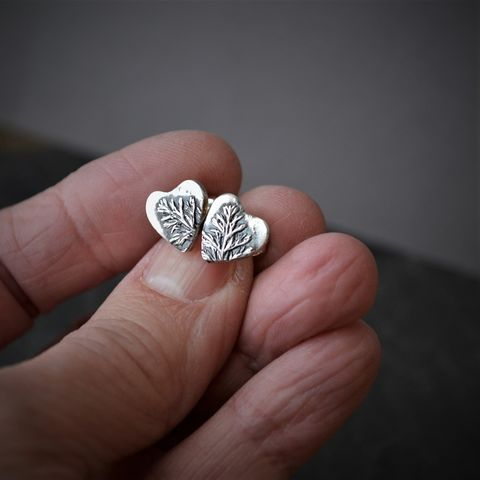 Heart,Stud,Earrings,,Western,Yarrow,Leaf,in,Sterling,Silver,botanical heart earrings, little heart earrings, prairie heart earrings, western yarrow earrings, prairie grass earrings, prairie earrings, prairie jewelry, gayle dowell, kansas earrings, plant earrings, nature earrings, stud earrings, heart studs
