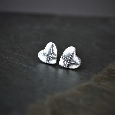 Little,Botanical,Heart,Stud,Earrings,in,Sterling,Silver,with,Prairie,Grass,Texture,,Bluestem,botanical heart earrings, little heart earrings, prairie heart earrings, little bluestem earrings, prairie grass earrings, prairie earrings, prairie jewelry, gayle dowell, kansas earrings, plant earrings, nature earrings, heart studs