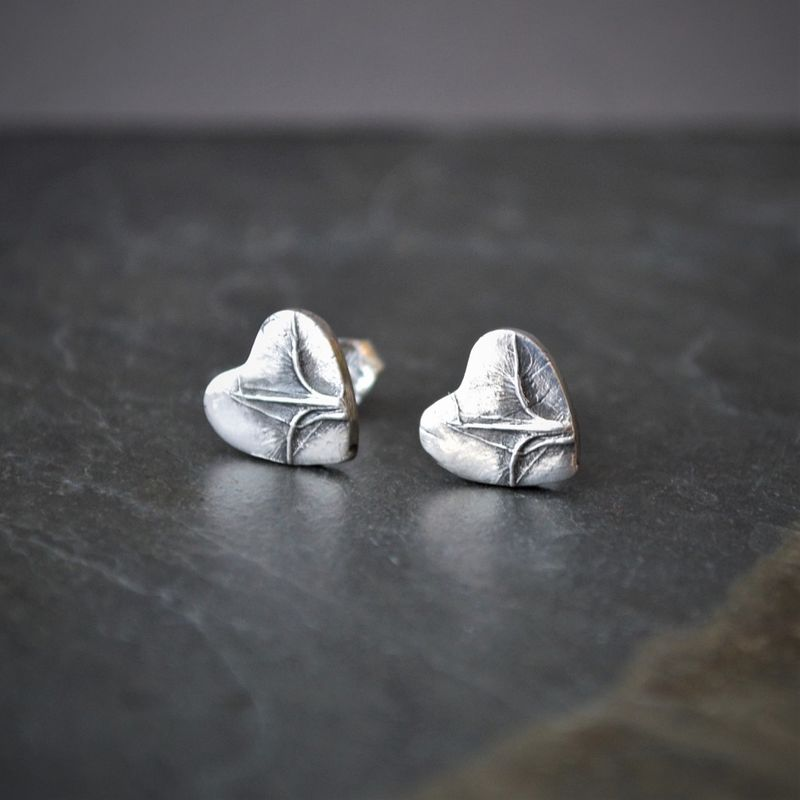 Little Botanical Heart Stud Earrings in Sterling Silver with Prairie Grass Texture, Little Bluestem - product images  of