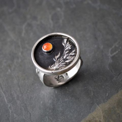 Ember, Carnelian Agate Gemstone and Sterling Silver Ring, Control Burn, Prescribed Fire, Prairie Grass Ring, Kentucky Bluegrass, Size 7 1/2 - product images  of
