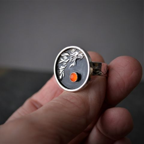 Carnelian,Agate,Gemstone,and,Sterling,Silver,Ring,,Control,Burn,,Prescribed,Fire,,Prairie,Grass,Kentucky,Bluegrass,,Size,7,1/2,carnelian agate gemstone ring, orange ring, controlled burn ring, prescribed fire ring, prairie grass ring, kentucky bluestem ring, orange carnelian ring, botanical ring, plant ring, nature ring, gayle dowell, statement ring, prairie jewelry, prairie gras