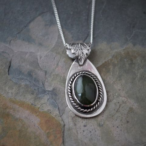 Green Jade Necklace with Elm Leaf Bail in Sterling Silver - product images  of