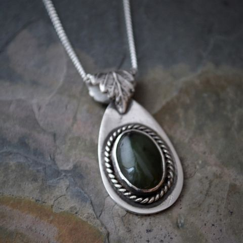 Green,Jade,Necklace,with,Elm,Leaf,Bail,in,Sterling,Silver,nephrite jade necklace, deep green gemstone necklace, dark green gemstone necklace, tree necklace, elm tree leaf necklace, elm tree necklace, jade necklace, gayle dowell