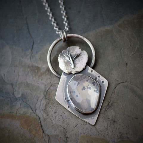 The Whisper of Wind, Blue Moon Quartz and Sterling Silver Necklace, Little Bluestem Seed - product images  of