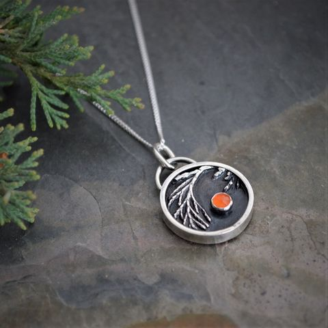 Ember,,Controlled,Burn,Necklace,,Eastern,Redcedar,with,Carnelian,Gemstone,in,Sterling,Silver,controlled burn necklace, prairie necklace, prairie jewelry, carnelian gemstone, Eastern Redcedar, cedar, embers, sterling silver necklace, carnelian agate, orange gemstone necklace, gayle dowell