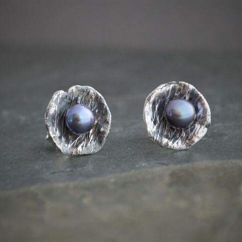 Peacock,Freshwater,Pearl,Stud,Earrings,in,Sterling,Silver,freshwater pearl stud earrings, peacock pearl jewelry, sterling silver jewelry, pearl jewelry, gayle dowell, nest earrings, stud earrings, post earrings, prairie grass, earthy earrings, botanical earrings