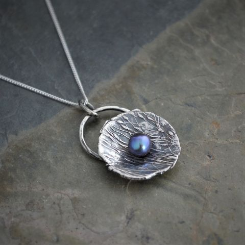 Sterling,Silver,and,Peacock,Freshwater,Pearl,Pendant,,Nest,Necklace,peacock pearl pendant, nature necklace, freshwater pearl jewelry, mother's necklace, nest necklace, gayle dowell, ticklegrass, prairie grass, purple blue pearl, sterling silver pendant necklace, botanical necklace