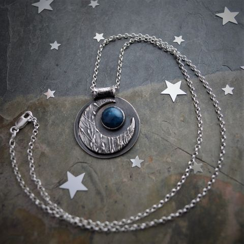 Blue Moon, Prairie Grass Moon in Sterling Silver with Apatite Gemstone - product images  of