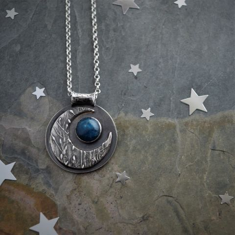 Blue,Moon,,Crescent,Moon,in,Sterling,Silver,with,Apatite,Gemstone,blue moon jewelry, cresent moon necklace, sterling moon necklace, moon jewelry, celestial necklace, apatite gemstone necklace, blue apatite jewelry, handmade jewelry, prairie grass jewelry, sterling silver necklace, gift for her, nature lover, prairie lov