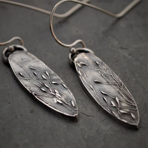 Ticklegrass,Prairie,Earrings,,Botanical,Jewelry,,Fine,and,Sterling,Silver,ticklegrass earrings, prairie grass earrings, fine silver jewelry, sterling silver earrings, dangle earrings, botanical earrings, nature earrings, plant earrings, gayle dowell, long earrings