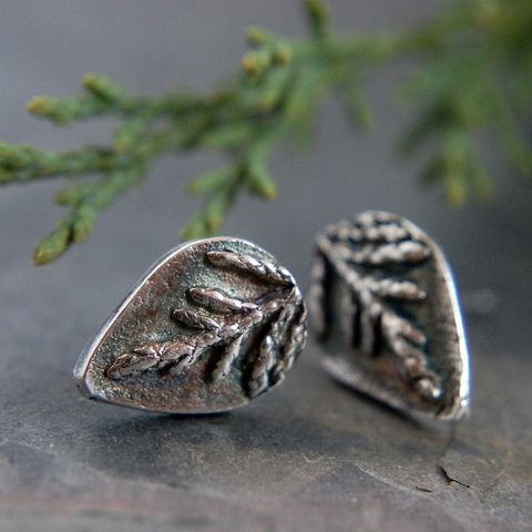 Cedar Stud Earrings, Sterling Silver, Botanical Jewelry - product images  of