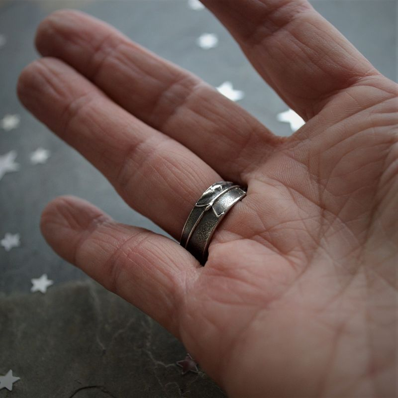 Moon Face Ring, Carved Bone and Sterling Silver, Size 8 - product images  of