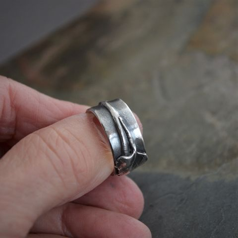 Cottonwood Tree Twig and Leaf Ring in Sterling Silver - product images  of