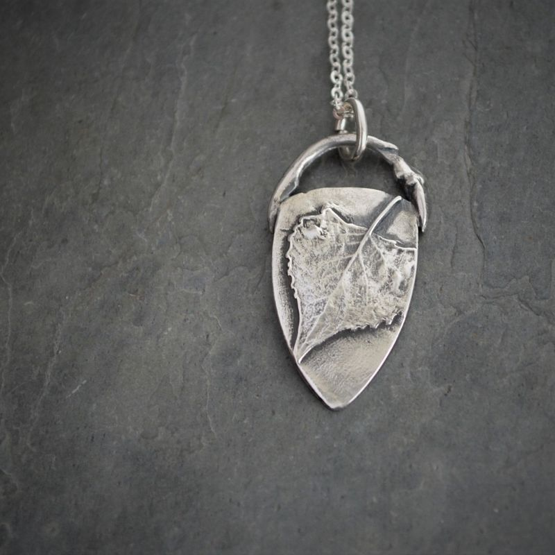 Cottonwood Leaf and Twig Necklace, Fine Silver Pendant - product images  of
