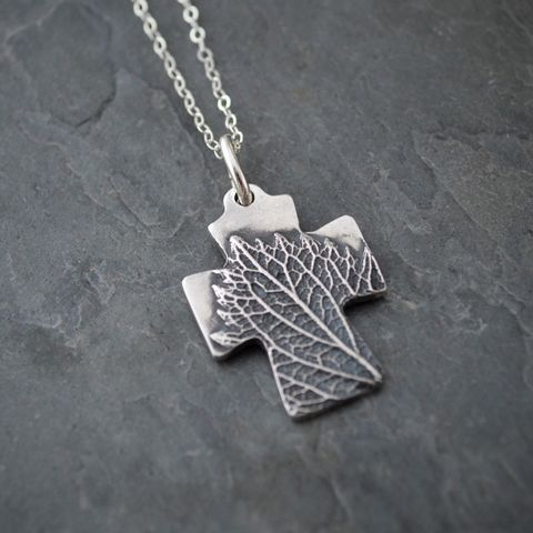 Botanical,Cross,Necklace,,Nature,Jewelry,,Hoary,Vervain,Leaf,Pendant,Cross necklace, religious nature cross necklace, square cross pendant, hoary vervain, fine silver jewelry, religious jewelry, Christian necklace, spiritual necklace, hoary vervain cross necklace, prairie wildflower necklace, gayle dowell, leaf necklace, b
