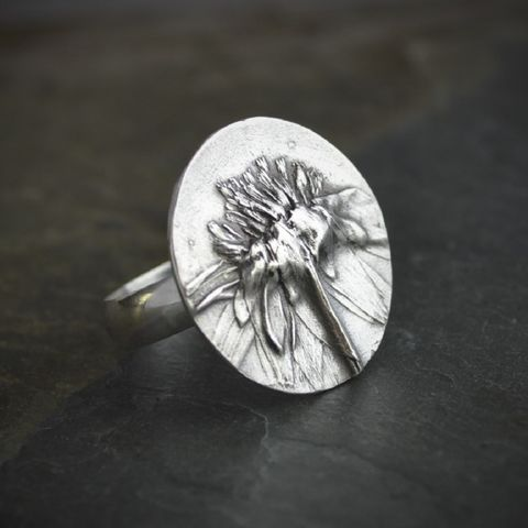 Botanical,Statement,Ring,,Black-eyed,Susan,in,Sterling,Silver,,Size,7,,8,statement ring, big ring, large ring, sterling silver ring, black-eyed susan jewelry, size 7, size 8, botanical ring, wildflower ring, prairie ring, gayle dowell jewelry, renee dowell jewelry, disc ring, flower ring