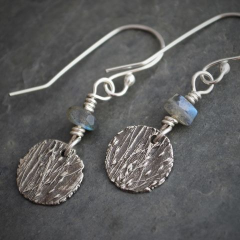 Artisan,Botanical,Earrings,,Labradorite,and,Fine,Silver,,Ticklegrass,Jewelry,ticklegrass earrings, fine silver earrings, labradorite earrings, dangle earrings, plant jewelry, nature earrings, the prairie jeweler, gayle dowell, artisan earrings, handmade earrings, Kansas jewelry, botanical earrings, prairie grass earrings