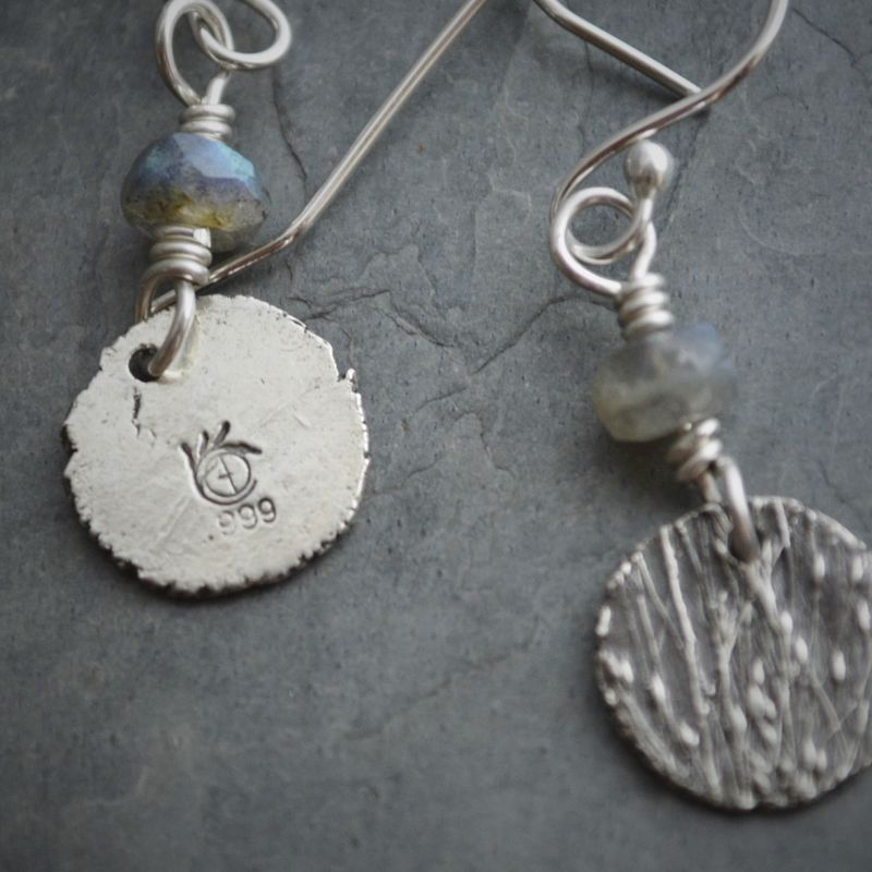 Artisan Botanical Earrings, Labradorite and Fine Silver, Ticklegrass Jewelry - product images  of