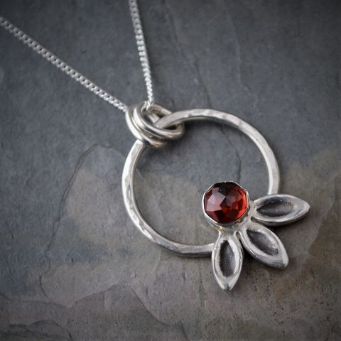 Garnet,Hoop,Necklace,,Prairie,Coneflower,Jewelry,Red Garnet Necklace, Wildflower Necklace, Prairie Coneflower pendant, faceted garnet necklace, Red gemstone jewelry, artisan necklace, nature necklace, january birthstone, january birthday gift, hoop necklace, flower pendant, Valentine gift, gift for her