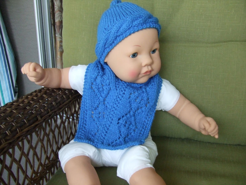 Pattern for Babies Cabled Ski Cap & Lacey Scarf - product images  of