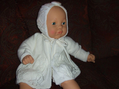 Pattern,to,Knit,for,Babies,Sweater,Jacket,&,Hat,that,will,also,Match,Christening,Gown,Knitting,Baby,Set,babies,jacket,christening,baptism,lacework