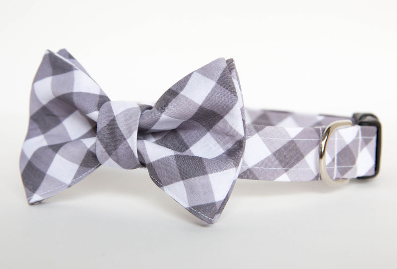 Dog Bowtie Collar - Grey Gingham - product images  of
