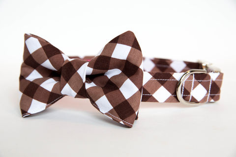Dog,Bowtie,Collar,-,Chocolate,Gingham,dog collar, dog bow tie, dog bowtie, bow tie dog collar, bowtie dog collar, gingham dog collar, gingham, chocolate, brown, wedding dog collar