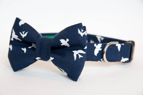 Dog,Bowtie,Collar,-,Bird,in,Navy,dog collar, dog bow tie, dog bowtie, bow tie dog collar, bowtie dog collar, wedding dog collar, navy, birds, bird dog