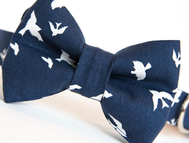 Dog Bowtie Collar - Bird Dog in Navy - product images  of
