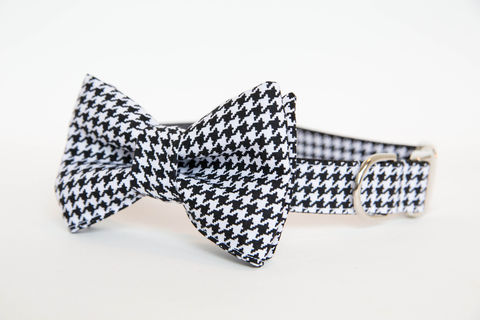 Dog,Bowtie,Collar,-,Black,and,White,Houndstooth,dog collar, dog bow tie, dog bowtie, bow tie dog collar, bowtie dog collar, wedding dog collar, black and white houndstooth, houndstooth dog bowtie, alabama, university of alabama