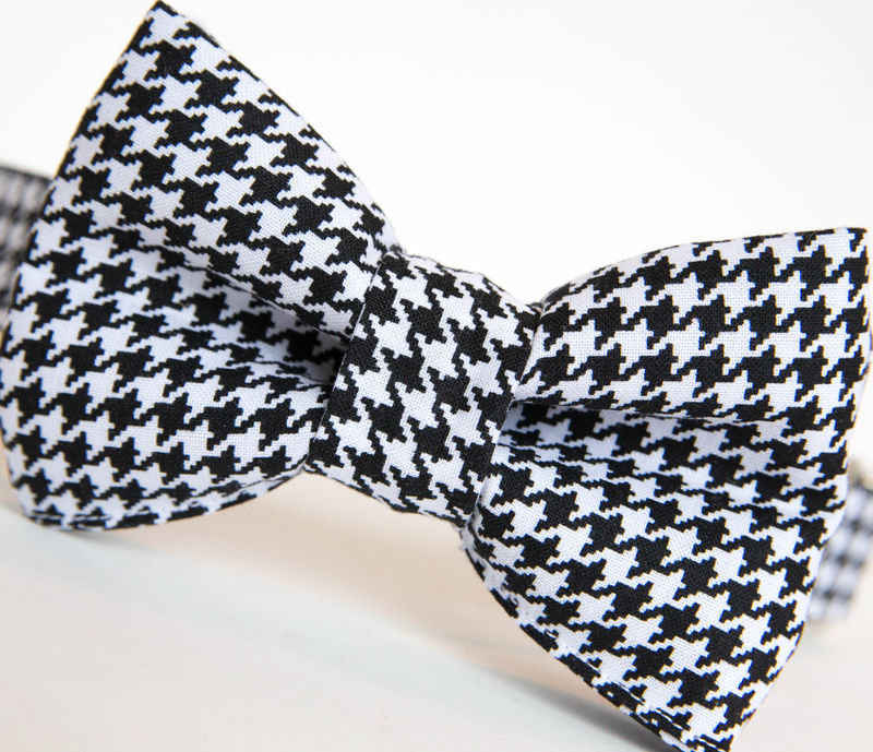 Dog Bowtie Collar - Black and White Houndstooth - product images  of