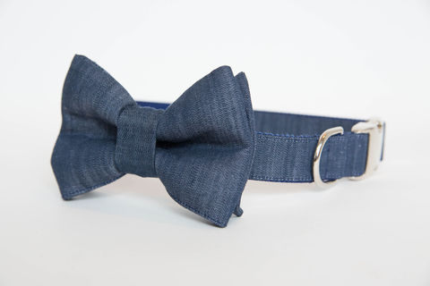 Dog,Bowtie,Collar,-,Dark,Blue,Chambray,dog collar, dog bow tie, dog bowtie, bow tie dog collar, bowtie dog collar, wedding dog collar, chambray, denim