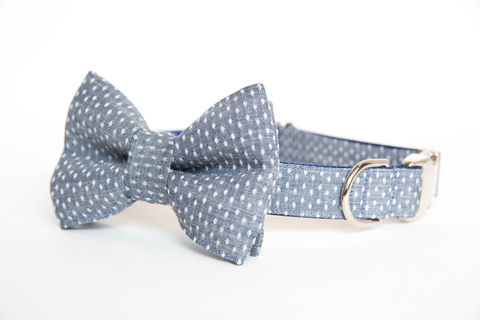 Dog,Bowtie,Collar,-,Swiss,Dot,Chambray,dog collar, dog bow tie, dog bowtie, bow tie dog collar, bowtie dog collar, wedding dog collar, swiss dot, chambray