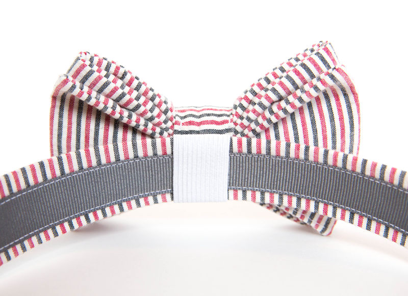 Dog Bowtie Collar - Garnet & Black Seersucker - product images  of
