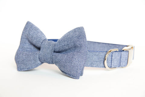 Dog,Bowtie,Collar,-,Navy,Herringbone,dog collar, dog bow tie, dog bowtie, bow tie dog collar, bowtie dog collar, wedding dog collar, herringbone, navy