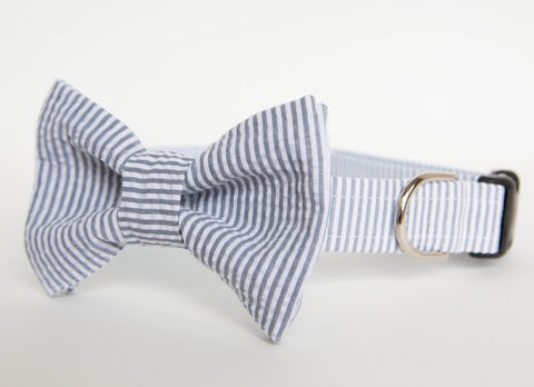 Dog,Bowtie,Collar,-,Grey,Seersucker,dog collar, dog bow tie, dog bowtie, bow tie dog collar, bowtie dog collar, wedding dog collar, seersucker dog collar, seersucker, grey, gray