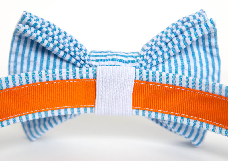 Dog Bow Tie Collar - Turquoise Seersucker - product images  of