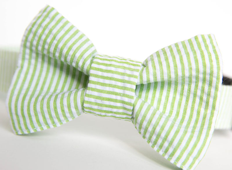 Dog Bow Tie Collar - Apple Green Seersucker - product images  of