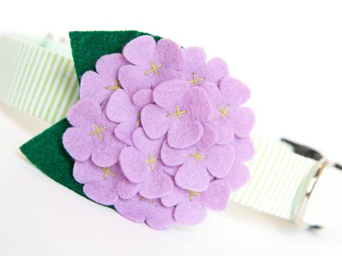 Flower,Dog,Collar,-,Lavender,Hydrangea,flower dog collar, dog collar flower, flower for dog collar, felt flower, wedding dog collar, fancy dog collar, unique, dog collar, flower, seersucker, hydrangea, lavender, purple