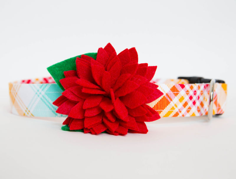 Flower Dog Collar -  Red Dahlia on Summer Plaid - product images  of
