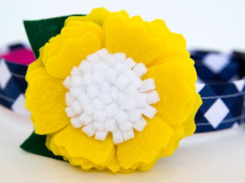 Flower,Dog,Collar,-,Yellow,Blossom,on,Navy,Gingham,flower dog collar, dog collar flower, flower for dog collar, felt flower, wedding dog collar, fancy dog collar, unique, dog collar, flower, gingham, navy, yellow