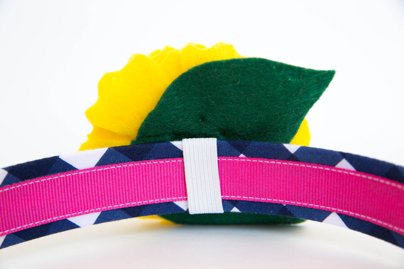 Flower Dog Collar -  Yellow Blossom on Navy Gingham - product images  of