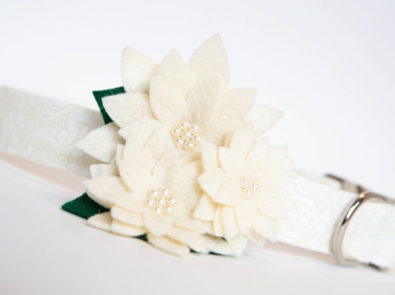 Flower Dog Collar -  Ivory Lace Wedding Collar - product images  of