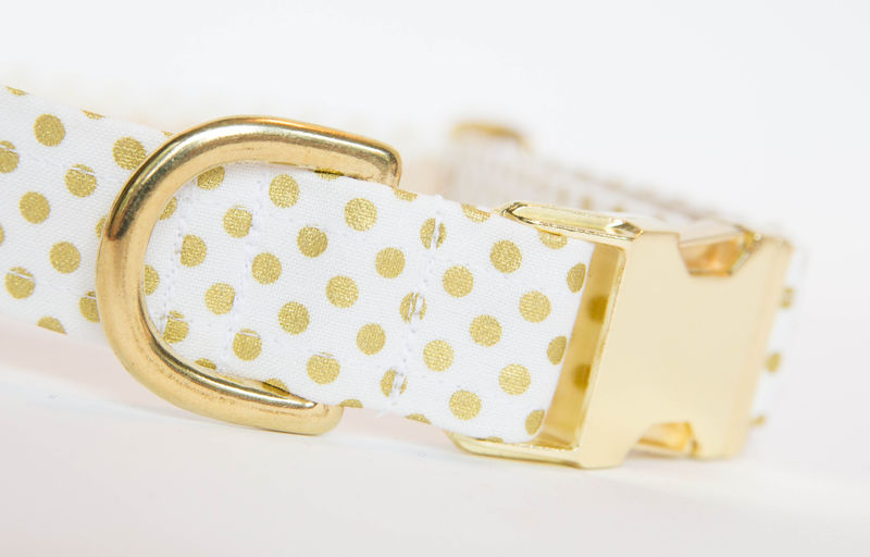 Flower Dog Collar -  White & Metallic Gold Wedding Collar - product images  of