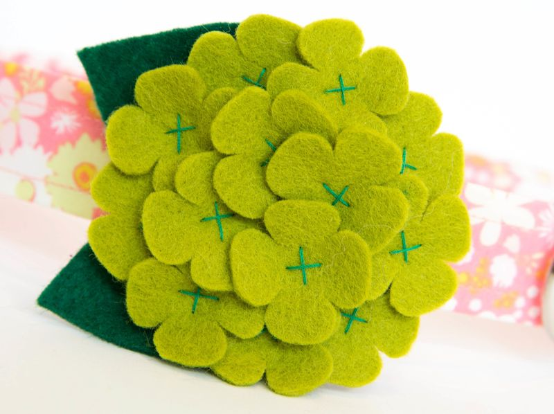 Flower Dog Collar -  Green Hydrangea on Coral Collar - product images  of
