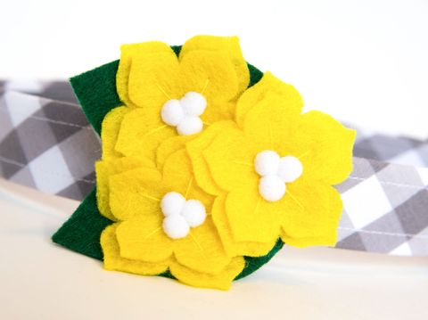 Flower,Dog,Collar,-,Yellow,Jessamine,flower dog collar, dog collar flower, flower for dog collar, felt flower, wedding dog collar, fancy dog collar, unique, dog collar, flower, yellow jessamine, south carolina