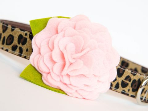 Flower,Dog,Collar,-,Ballet,Pink,Leopard,flower dog collar, dog collar flower, flower for dog collar, felt flower, wedding dog collar, fancy dog collar, unique, dog collar, flower, leopard dog collar